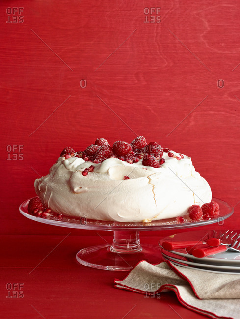 White frosted raspberry cake