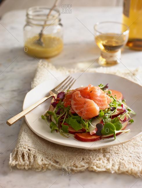 Salmon salad close up