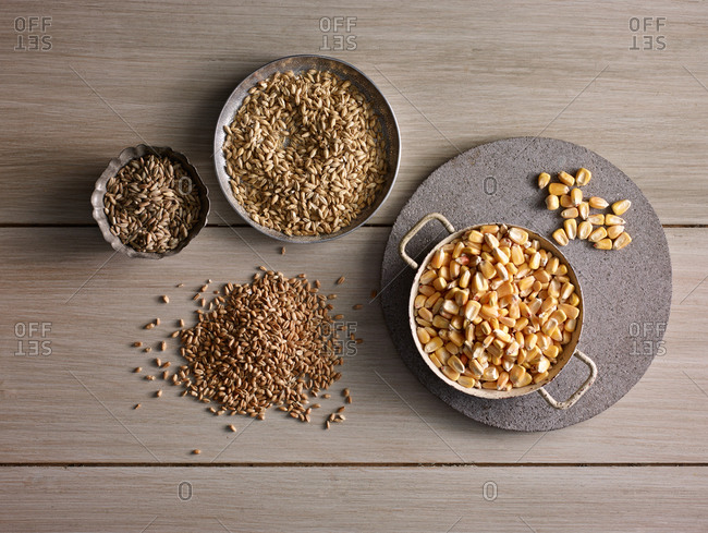 Corn kernels and seeds sorted in metal bowls
