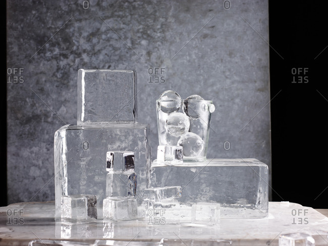 Shaped ice arranged on a table