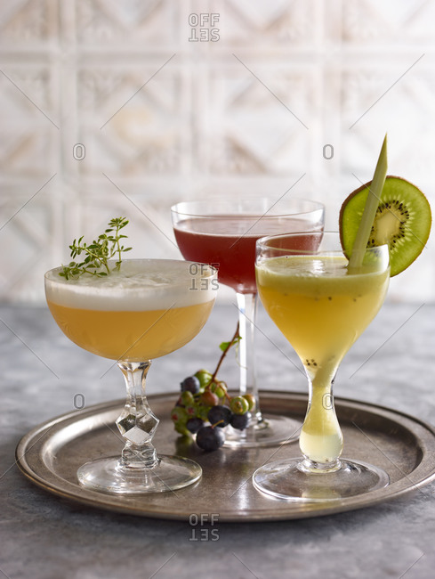 Three fruity cocktails