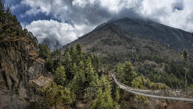 Footbridge in the mountains, Khumbu