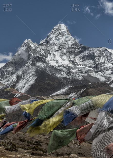 Ama Dablam and prayer flags, Khumbu