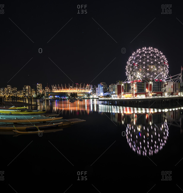 View to BC Place Stadium and Science World at Telus World of Science at night