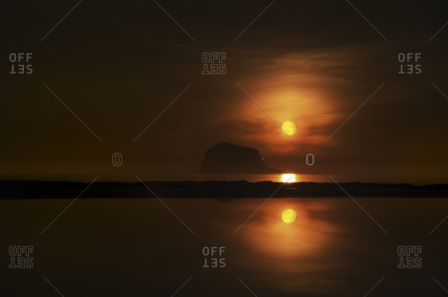 Bass Rock Red moon rise, North Berwick, East Lothian