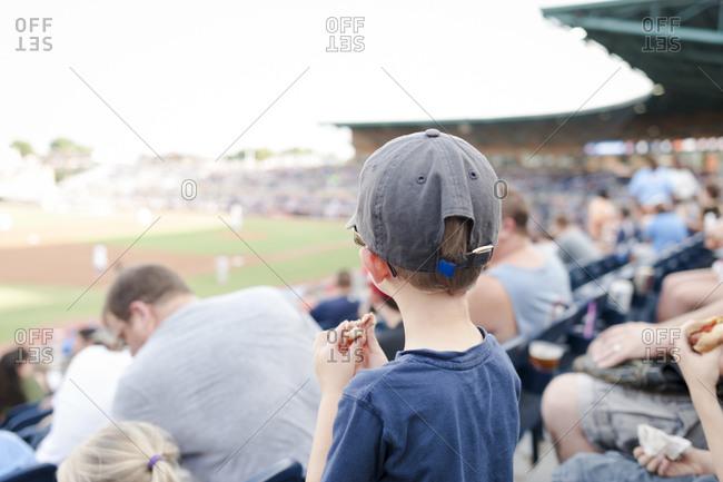 Boy eating a hotdog at a baseball game