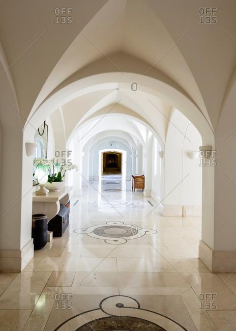 Paphos, Cyprus - May 8, 2015: Vaulted hallway in Cyprus resort