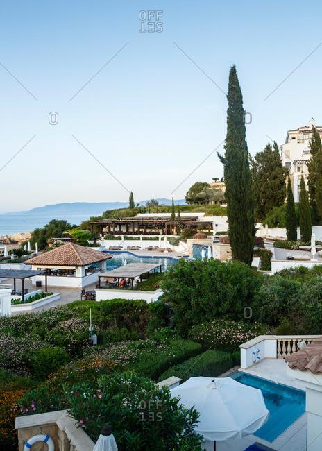 Paphos, Cyprus - May 8, 2015: Scenic coastal resort in Cyprus