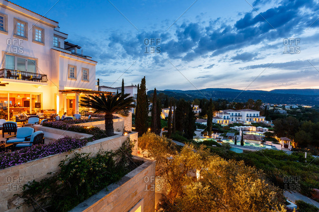 Paphos, Cyprus - May 8, 2015: Resort at sunset in Cyprus