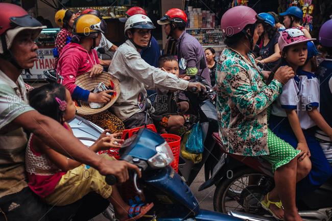 Phu Quoc, Vietnam - November 10, 2015: Rush hour traffic on Phu Quoc Island, Vietnam