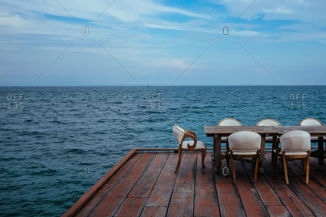 Table on a deck on Cambodian coast