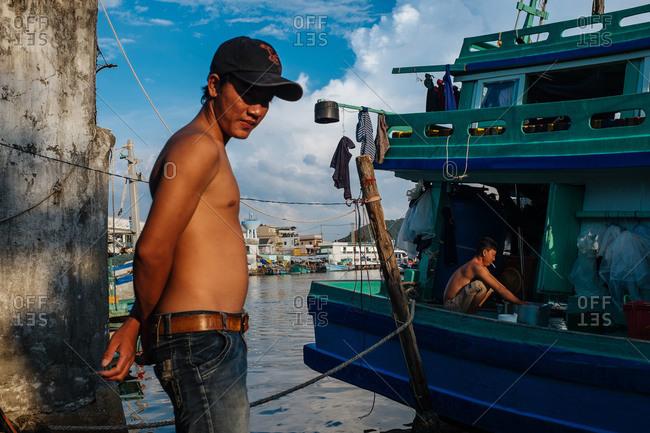 Phu Quoc, Vietnam - November 10, 2015: Fishermen in a fishing village in Phu Quoc, Vietnam