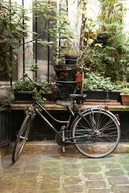 Bicycle parked against a garden bench