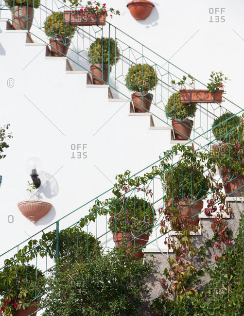 Potted shrubs line a stairway on white stucco building