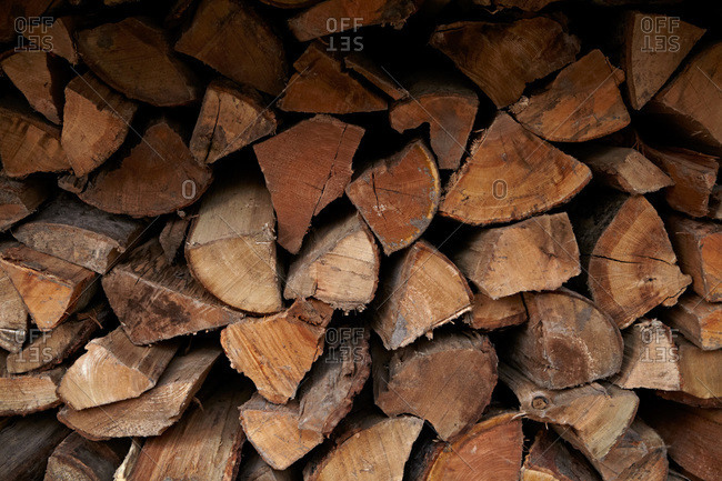 A stack of pieces of firewood