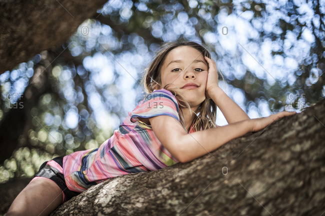 Portrait of a little girl resting on a large tree branch