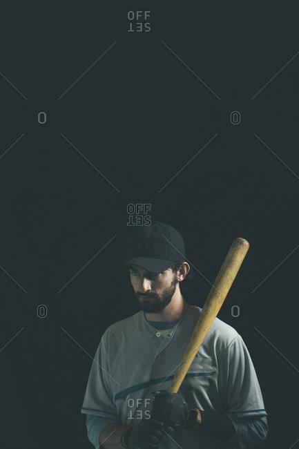 Baseball player with a baseball bat