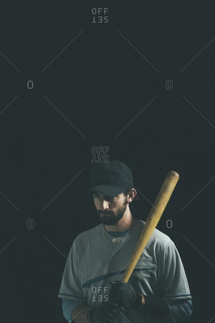 Baseball player with a baseball bat