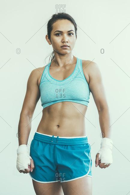 Portrait of a female kick-boxer
