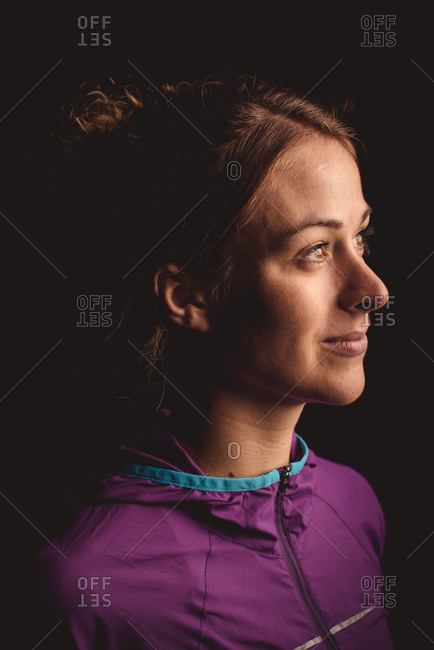 Portrait of a woman in exercise gear