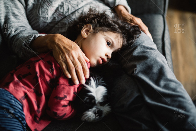 Young girl lying on grandmother's lap with her dog
