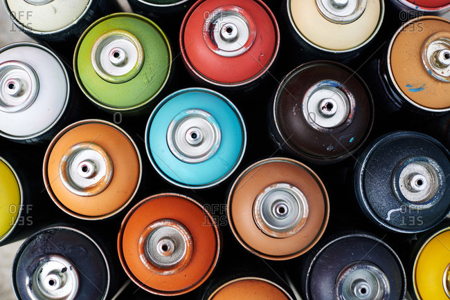Cluster of spray paint cans