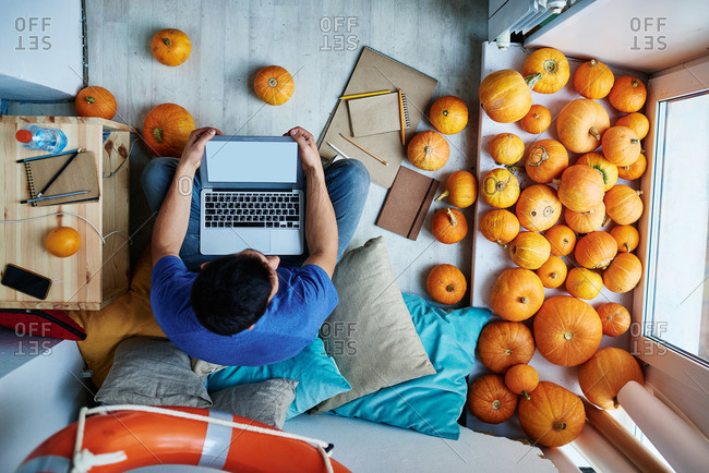 Man with laptop surrounded by pumpkins
