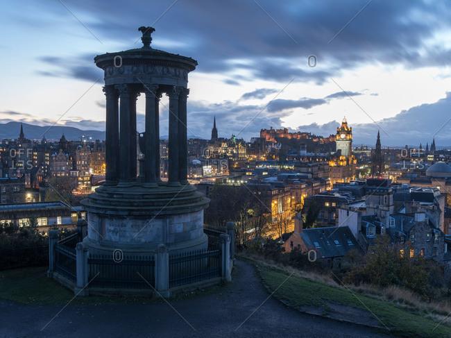 The Dugald Stewart Monument on Calton Hill in Edinburgh, Scotland