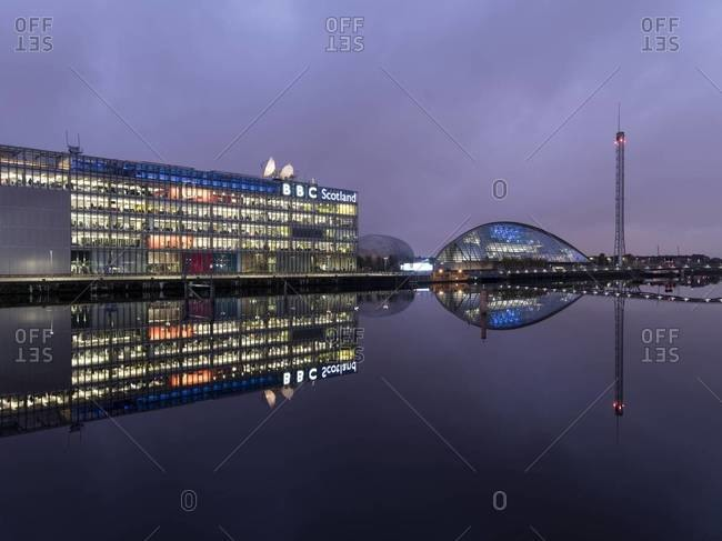 Glasgow, Scotland - November 19, 2015: BBC Scotland offices and Glasgow Science Centre and Tower