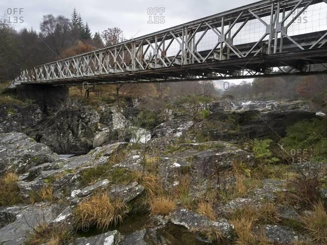 Small bridge over the Orchy River in Scotland