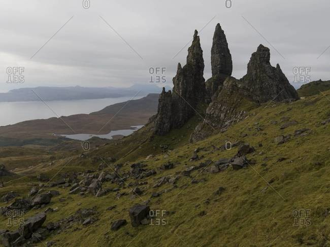 The Old Man of Storr and landscape on the Isle of Skye, Scotland