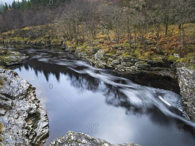 View of the Orchy River in Scotland in autumn