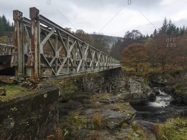Orchy River bridge in the Orchy River Valley in Scotland