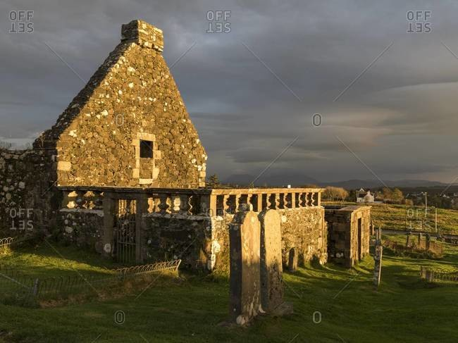 Remnants of an old church in Dunvegan on the Isle of Skye, Scotland