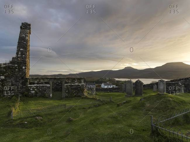 Church ruins and cemetery in Dunvegan on the Isle of Skye, Scotland