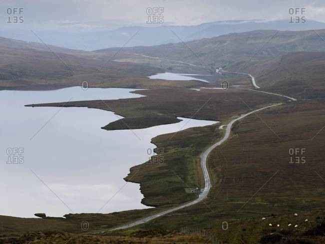 View of road from The Old Man of Storr on the Isle of Skye, Scotland