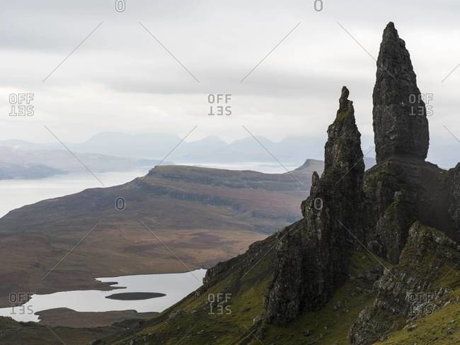 The Old Man of Storr and foggy view on the Isle of Skye, Scotland
