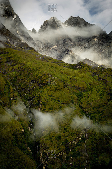 The mountains of the Everest Region are wrapped in clouds in monsoon season