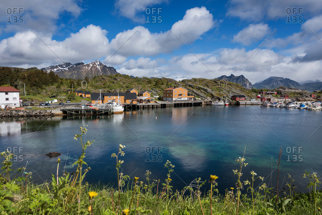 View over harbor, Stamsund, Vestvagoy, Lofoten Islands, Norway