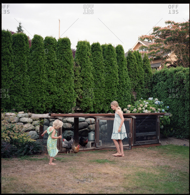 Two girls playing in garden by a chicken coup