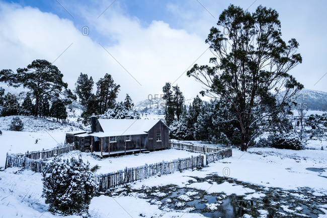 Mt Kate Hut blanketed in a fresh layer of snow