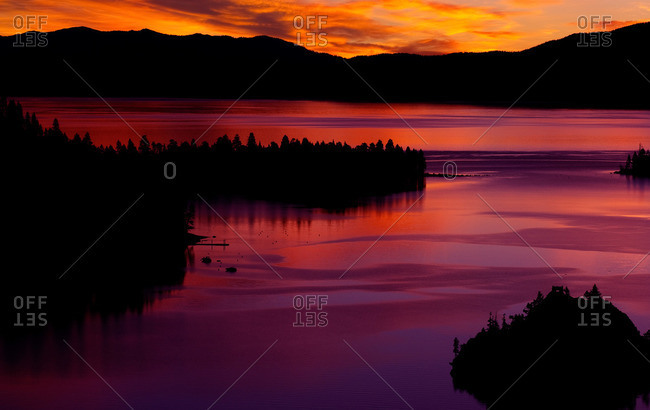 Sunrise from Emerald Bay at lake Tahoe