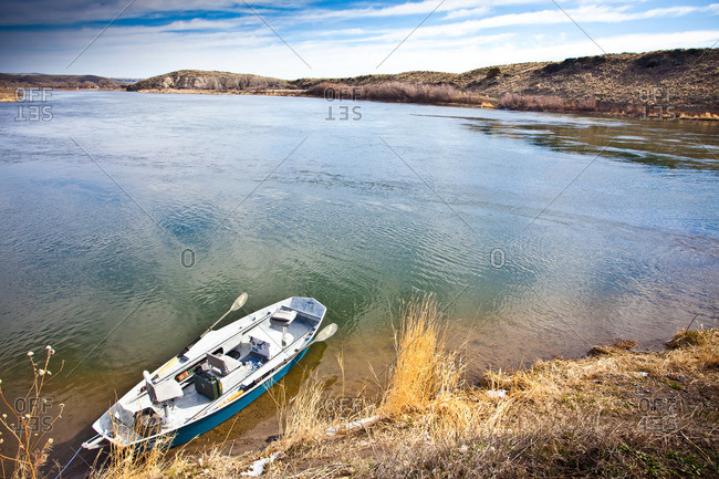 A drift boat on Montana's Missouri River in spring