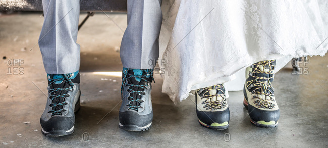Bride and groom footwear for a mountain wedding