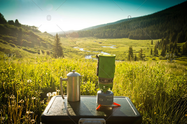 Morning coffee is prepared on a camping trip in Yampa, Colorado.