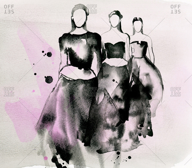 Three faceless women in fashionable gowns