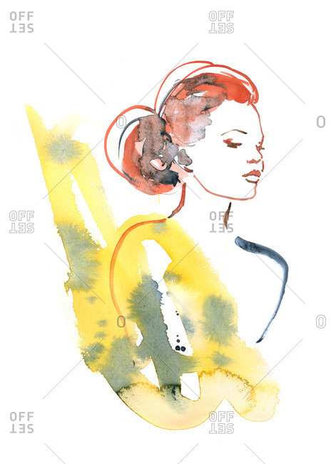 Watercolor portrait of a woman with bare shoulders