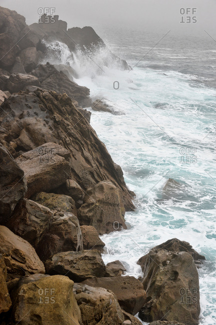 Rocky shoreline of San Sebastian, Spain