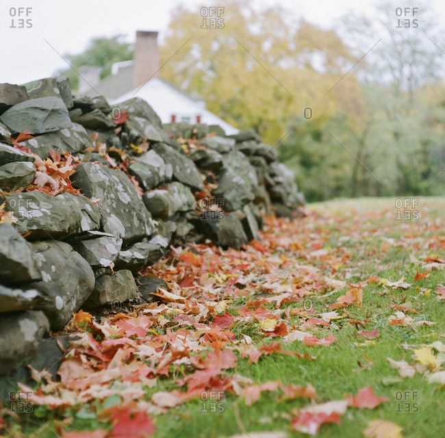 Stacked rock wall in the fall