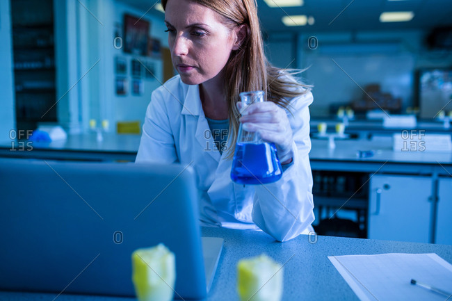 Scientist working with a laptop in laboratory at the university